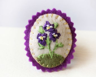 Pansy Brooch, Small Felt Brooch with Purple Pansies, Hand Embroidered Violet Flower Pin
