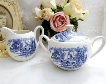 Vintage 1960s Countryside Blue by Wedgwood, Sugar Bowl and Lid and Creamer Set, Blue and White