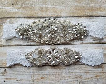 Sale -Wedding Garter and Toss Garter-Crystal Rhinestones - WHITE Garter Set - Style G20908CLWHT