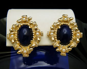 Vintage Signed Castlecliff Lapis Glass Faux Pearls Gold Tone Earrings Clip Backs
