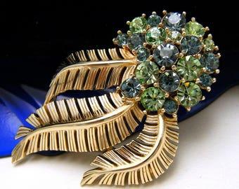 Crown Trifari Vintage Rhinestone Brooch Spring Green Powder Blue Gold Tone Frond