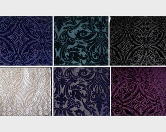 Stretch Burnout Velvet on Sheer Mesh Fabric Scraps Large Pieces Assorted Colors - All for one price
