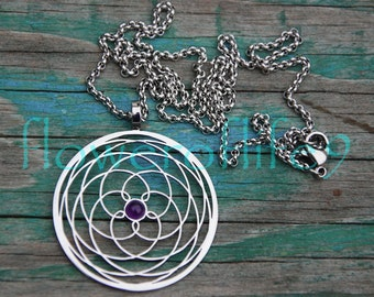 Rose of Venus with amethyst pendant (1 3/8 inch) - Stainless Steel