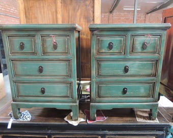 FREE SHIPPING WITHIN U.S. Pair Of Antique Chinese Nightstands In Lacquered  Teal Green (Los