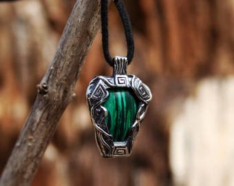 Sterling silver earth element necklace  - Handmade medieval earth maya necklace with natural stone