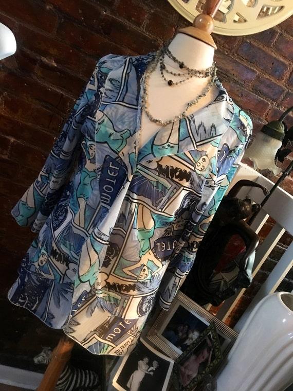 Vintage Hagara 80's blue &white mess POP  themed sheer blouse size M
