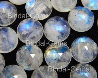 15 Pieces Lot Rainbow Moonstone 7X7 MM Round Rose Cut Loose Gemstone