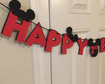 Mickey Mouse Birthday Banner - Red and Black