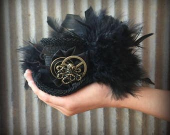 Steampunk Micro Mini Top Hat, Alice in Wonderland, Mad hatter hat, Kraken Mini Top hat, Mad Tea Party hat, Octopus Steampunk Hat