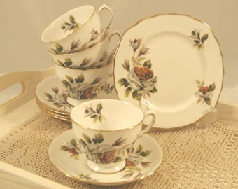 Beautiful teacup trio by royal vale, a product of Ridgeway potteries Ltd. TT035
