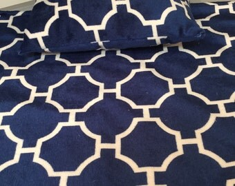 American doll blanket and pillow ,done in a navy and white lattice print