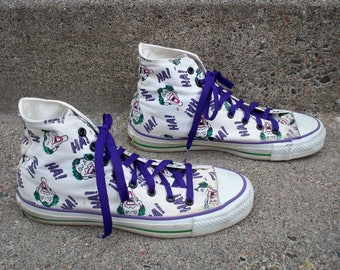 Vintage CONVERSE The Joker DC Comics 1989 Chucks All Star High Top Shoes Men's Sneakers Kicks Made in USA Size 7
