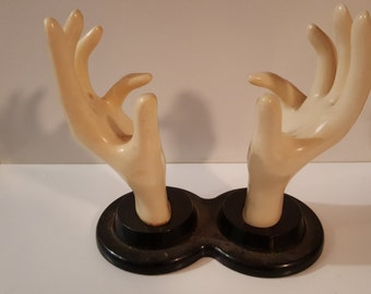 Reserved- vintage rubber hands/ hand stand/ ladies hands / pair of hands/ vintage hand display