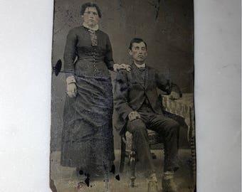 Vintage tin type/tin photograph/daguerreotype/old metal photo / victorian photo