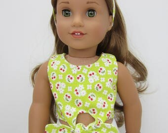 18 inch  doll clothes -  Light green cherry print  reversible tie front top.