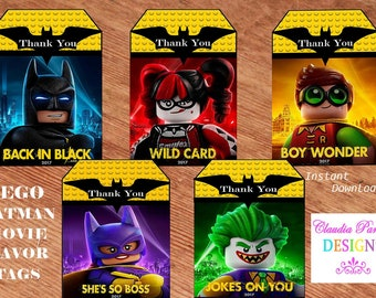 Batman Lego Favor Tags, Batman Lego Thank you tags, Batman Lego Lolly Bag tags, Batman Lego Movie tags