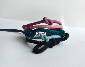 Eco-friendly rope cuff bracelet in pink and mint/ Nautical bracelet/ Rope bracelet.