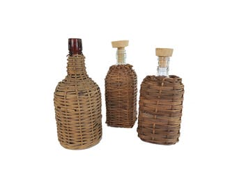 Antique Wicker Wrapped Glass Bottle Set of 3