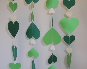Hand made Thick Card Stock Paper Party Wedding Christmas Decoration Streamer Green and Ivory Hearts