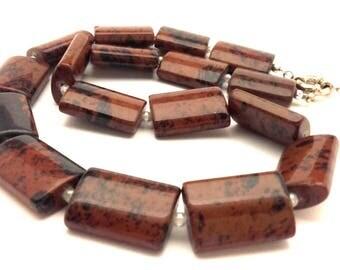 "Vintage Red Black Obsidiane Huge Gemstone Square  Beads Amazing Women Necklace 21.5"""