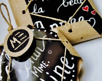 6 customizable coasters personalized with hand - painted recycled - cardboard - Ecopoxy - gift