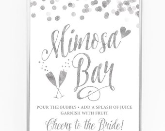 """White & Silver Mimosa Bar Sign - 8"""" x 10"""" - DIY Printable File For Printing On Your Own - Bridal Shower Sign Printable"""