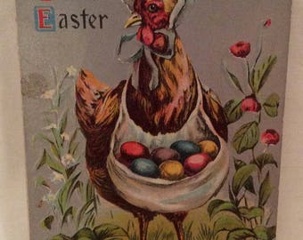 Easter Postcard, Vintage Mother Hen With Eggs In Her Apron Easter Postcard, Bonneted Hen Wishing everyone A Joyful Easter