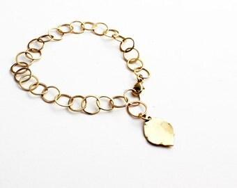 14k solid gold link bracelet. 14k gold bracelet. Solid gold charm bracelet Gold leaf bracelet Handmade gold chain Gift for her