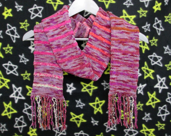 Merino Striped Art Scarf - Purples and Reds
