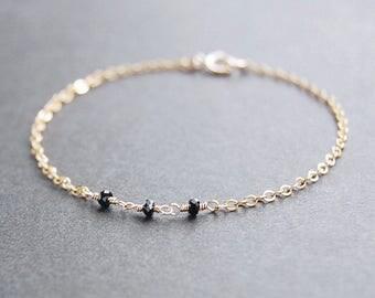 Black Spinel Bracelet - gold bracelet, gold filled bracelet, dainty bracelet, dainty gold bracelet, minimalist bracelet , minimalist jewelry