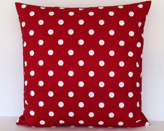 Red Polka Dot Pillow Cover Decorative Throw Toss Accent 16x16 18x18 20x20 22x22 12x16 12x18 12x20 14x22 White Zipper