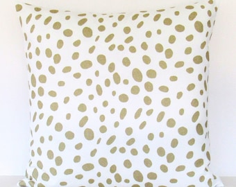 Metallic Gold Pillow Cover, Gold Pillow,  Gold Leopard Pillow, Gold Decorative Pillow, Gold Throw Pillow, Accent Polka Dot Invisible Zipper