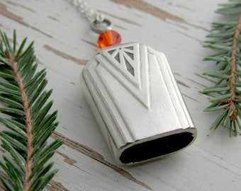 Silver bell necklace - tangerine orange - bell pendant - silverware jewelry - eye catching gifts for mom - butter knife bell - anniversary