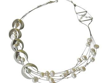 Big silver necklace,bridal necklace,anniversary necklace,bridal necklace,statement necklace for wedding,designer necklace,unique necklace