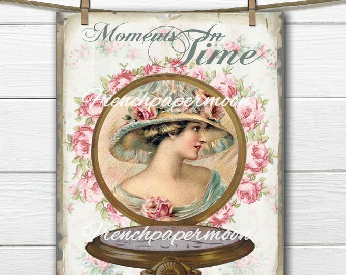 Shabby Victorian Lady Digital Collage, Vintage Timepiece, Digital Pocket-Watch, Moments in Time French Pillow Transfer Graphic