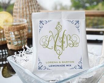 Monogrammed Lemonade Drink Mix, Customizable Favors, Party Favors, Drinkable Favors, Wedding Party, Baby Shower, Bridal Brunch Favors