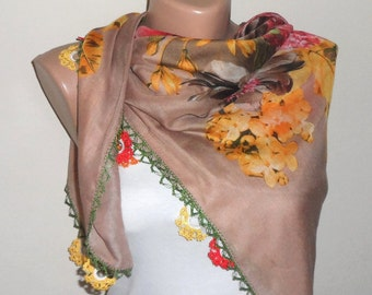 brown scarf yellow red green scarf floral print scarf cotton scarf yemeni scarf türkish womans scarf gift for her
