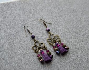 "Earrings ""Delhi"" consistingof beads in Swarovski Crystal, Bohemian crystal, Pompom in cotton"