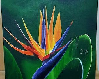 The bird of Paradise-Original Acrylic painting on canvas