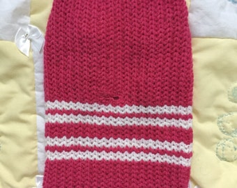 Pink and white stripy pet sweater