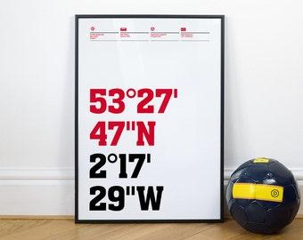 Man United Football Stadium Coordinates Posters