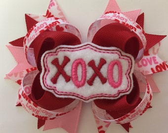 Valentine's Day Felt Hugs and Kisses Hairbow