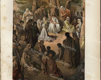 Religious Biblical antique original color lithograph print of The Sermon on the Mount, Mathew