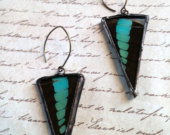 Butterfly Earrings Green and Black earrings Drop earrings Butterfly Jewelry Soldered Earrings Real Butterfly wings Triangle Boho Earrings