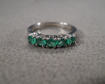 Vintage Sterling Silver 5 Round Emerald Wedding Band Ring Prong Set Stacker Design, Size 7
