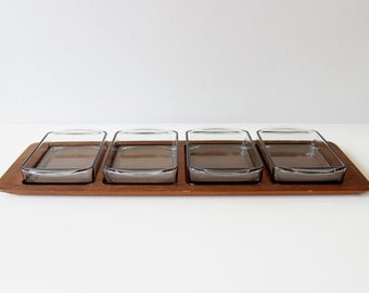 Digsmed Teak Serving Tray with Removable Glass Inserts Danish Modern