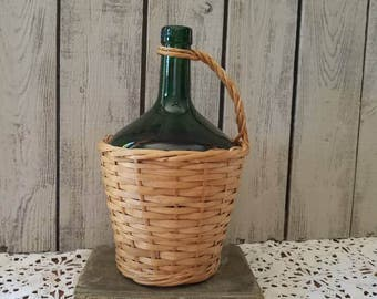 Vintage Demijohn Bottle Green Glass Wicker -  Spain Wine Bottle Basket - Farmhouse Decor - Emerald Green Glass Bottle