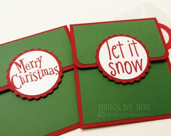 2 Red Green Christmas Gift Card Holders, Let it SnowMoney Holder, Merry Christmas Card Holder, Optional Envelope