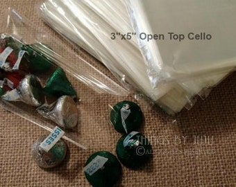 100 3x5 Cello Sleeve, Clear Cellophane Bags, Open Top Cello Favor Bag, Cello Bag, Cello Treat Bags, Clear Favor, Etsy Packaging
