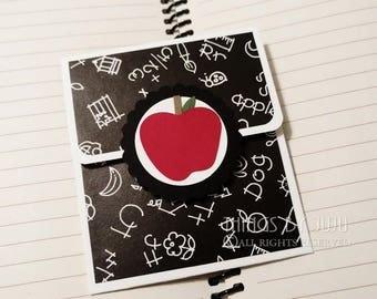 Teacher Gift Card Holder With Envelope, Apple Thank You School Gift Card Holder, Chalkboard Teacher Card, Red Apple Teacher Card